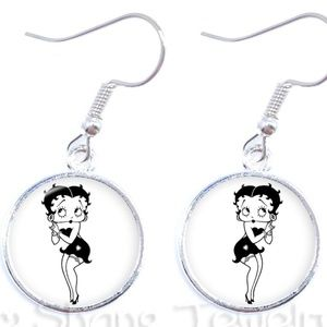 BETTY BOOP Earrings Cabochon Black & White Betty